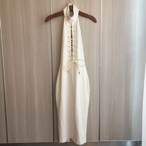 Sexy white backless lace up halter neck midi dress